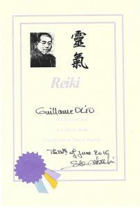 Diplomes Maitre Reiki Guillaume